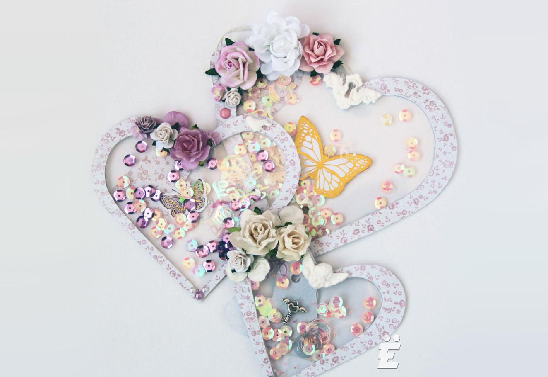Мопсы, открытка скрапбукинг сердце